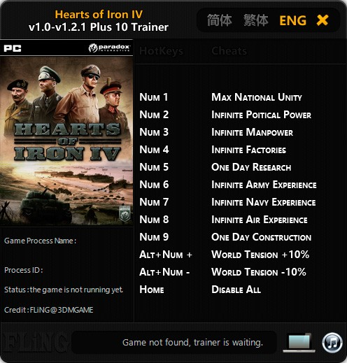 Hearts of Iron IV — трейнер для версии 1.2.1 (+10) FLiNG