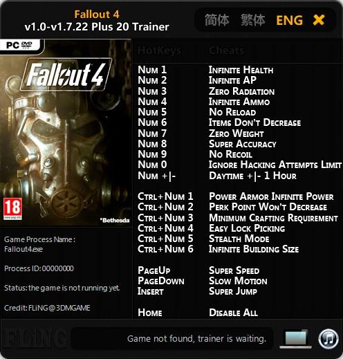 Fallout 4 — трейнер для версии 1.7.22 (+20) FLiNG