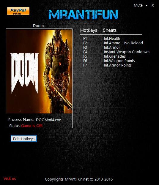 DOOM — трейнер для версии u3 (+8) MrAntiFun [OpenGL]