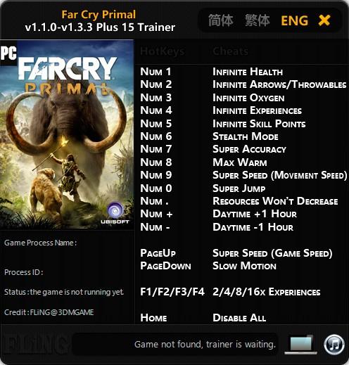 Far Cry Primal — трейнер для версии 1.3.3 (+15) FLiNG