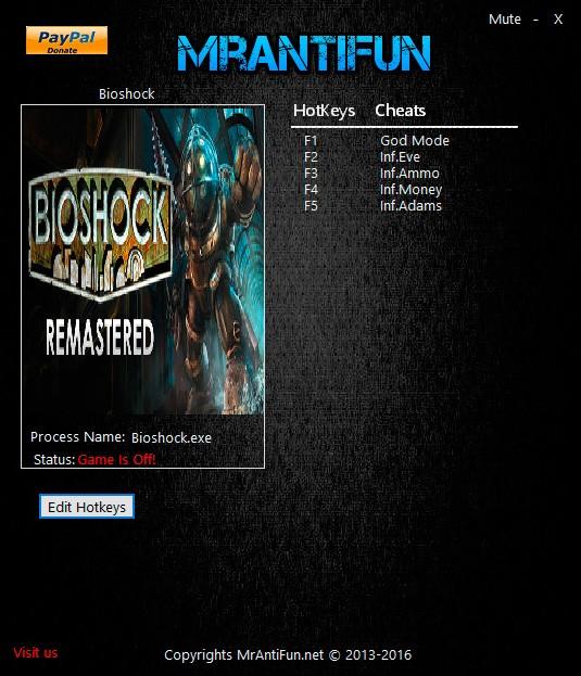 BioShock Remastered — трейнер для версии 1.0.121321 (+5) MrAntiFun
