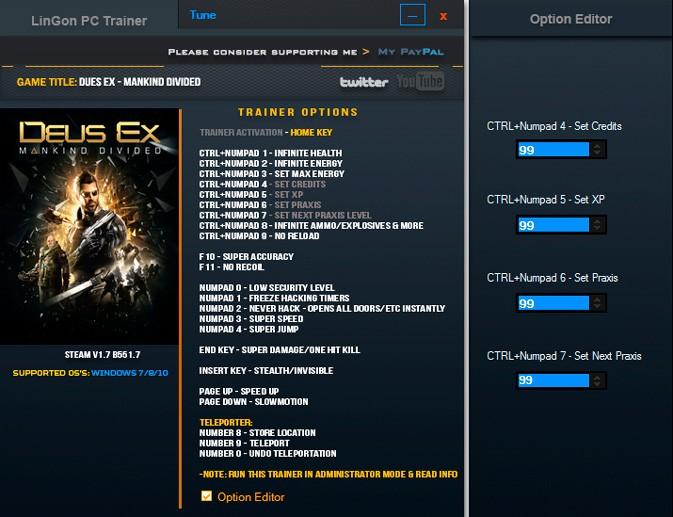 Deus Ex: Mankind Divided — трейнер для версии 1.7 (b 551.7) (+22) LinGon