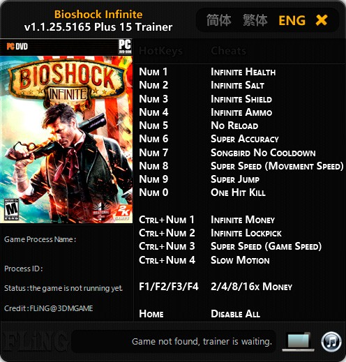 BioShock Infinite — трейнер для версии 1.1.25.5165 (+15) FLiNG