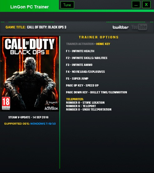 Call of Duty: Black Ops 3 — трейнер для версии u28 (+9) LinGon