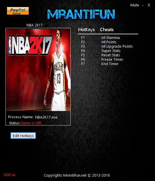 NBA 2K17 — трейнер для версии 1.0 (+7) MrAntiFun