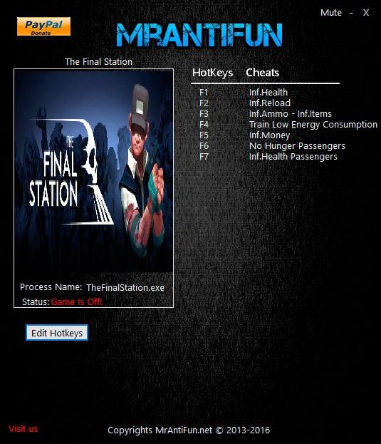 The Final Station — трейнер для версии 1.02 (+8) MrAntiFun