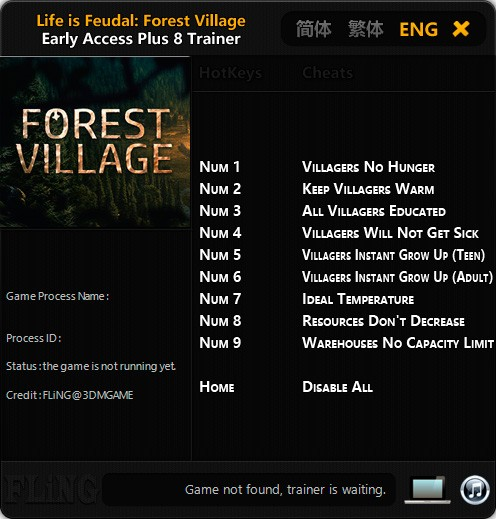 Life is Feudal: Forest Village — трейнер для версии 0.9.4331 (+8) FLiNG
