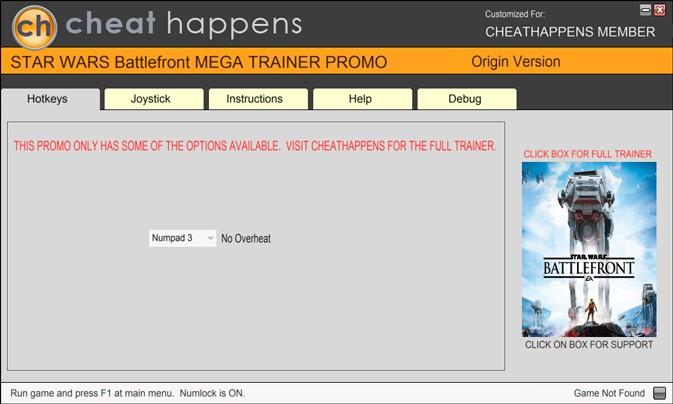 Star Wars: Battlefront — трейнер для версии 1.6.35326 (+1) Cheat Happens