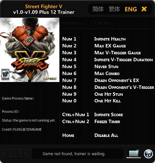 Street Fighter V — трейнер для версии 1.09 (+12) FLiNG