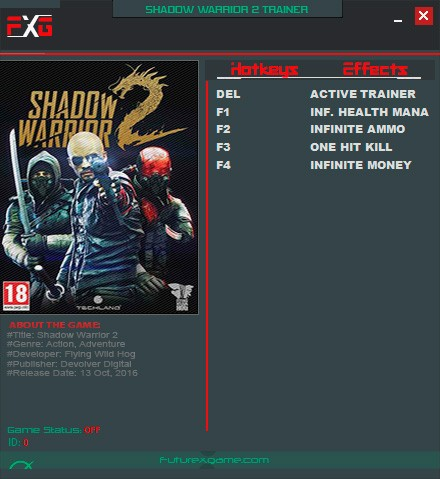Shadow Warrior 2 — трейнер для версии 1.0 (+4) FutureX