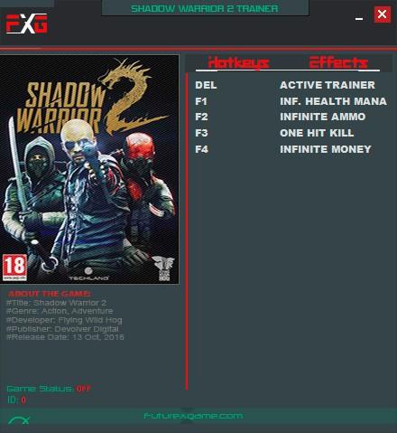 Shadow Warrior 2 — трейнер для версии 1.0 (+4) FutureX
