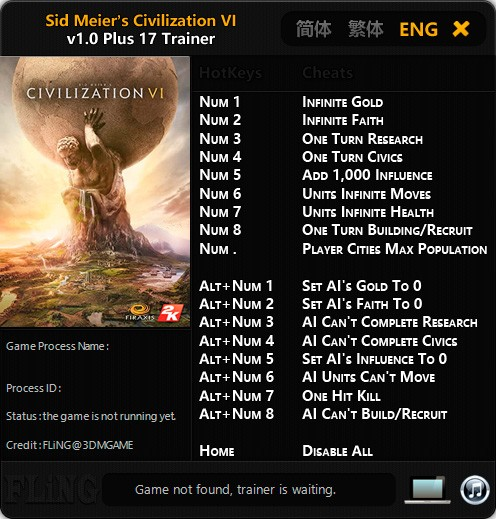 Sid Meier's Civilization 6 — трейнер для версии 1.0 (+17) FLiNG