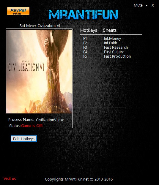 Sid Meier's Civilization 6 — трейнер для версии 1.0.0.26 (+5) MrAntiFun
