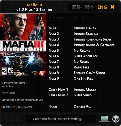 Mafia 3 — трейнер для версии 1.0 (+12) FLiNG