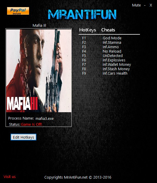 Mafia 3 — трейнер для версии 1.0 (+9) MrAntiFun