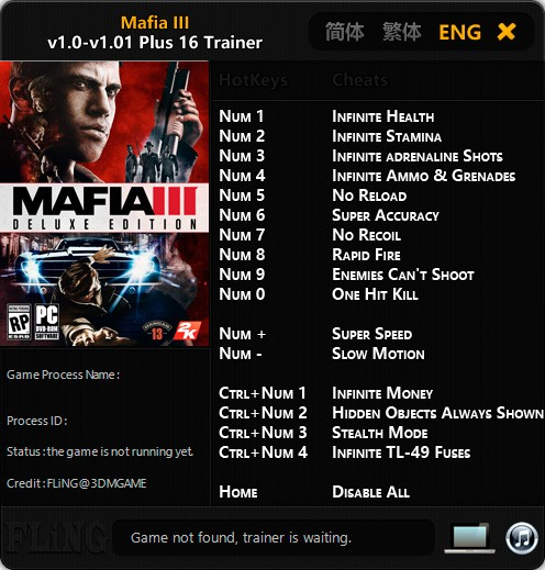 Mafia 3 — трейнер для версии 1.01 (+16) FLiNG