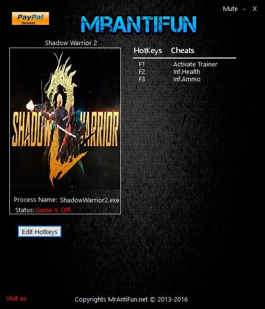 Shadow Warrior 2 — трейнер для версии 1.0 (+2) MrAntiFun