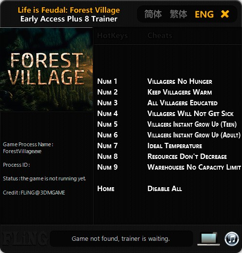 Life is Feudal: Forest Village — трейнер для версии 0.9.4441 (+8) FLiNG [Ранний доступ]