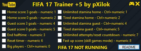 FIFA 17 — трейнер для версии 1.0 (+5) pXilok