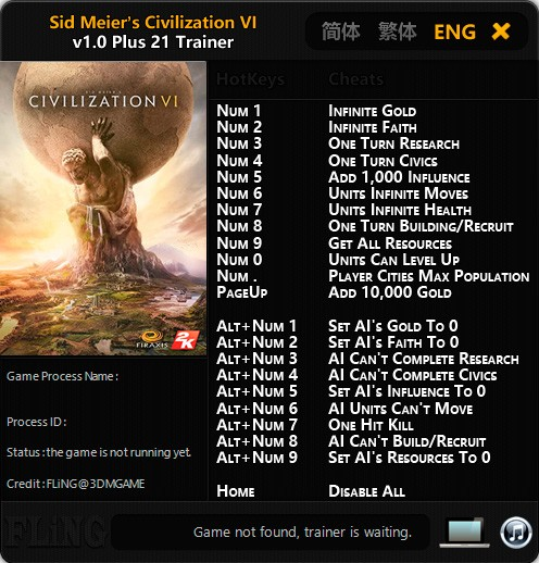 Sid Meier's Civilization 6 — трейнер для версии 1.0 (+21) FLiNG