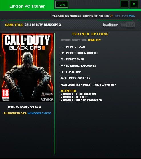 Call of Duty: Black Ops 3 — трейнер для версии 15.2 (+9) LinGon