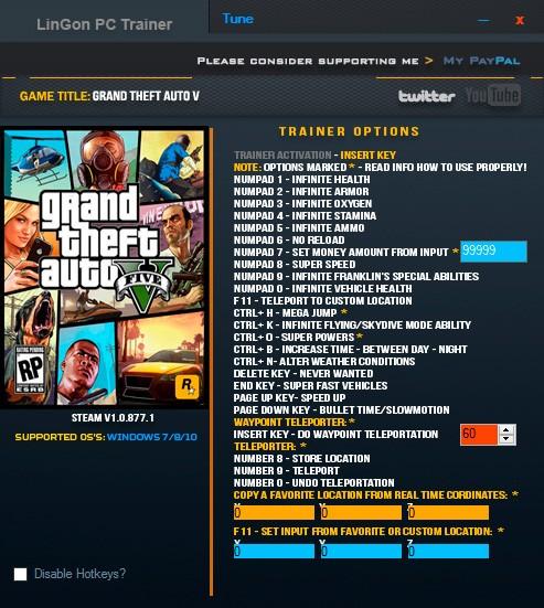 Grand Theft Auto 5 — трейнер для версии 1.0.877.1 (+24) LinGon