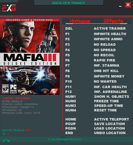 Mafia 3 — трейнер для версии 2.0 (+19) FutureX