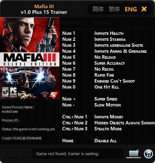 Mafia 3 — трейнер для версии 1.0 (+15) FliNG