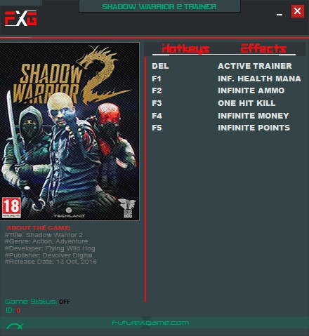 Shadow Warrior 2 — трейнер для версии 1.0 (+5) FutureX