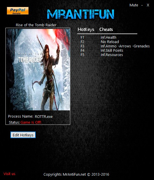 Rise of the Tomb Raider — трейнер для версии 1.0.751 (+5) MrAntiFun