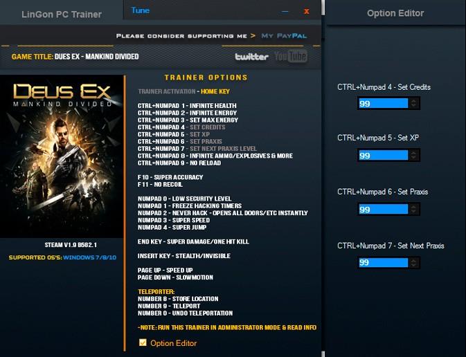 Deus Ex: Mankind Divided — трейнер для версии 1.9 (b 582.1) (+22) LinGon