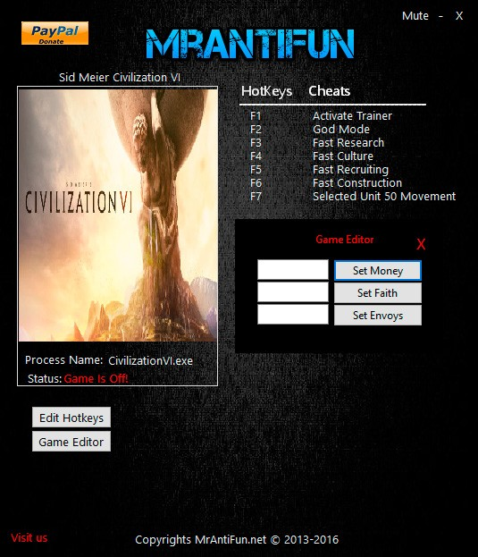 Sid Meier's Civilization 6 — трейнер для версии 1.0.0.26 (+9) MrAntiFun