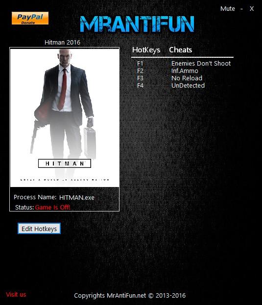 Hitman — трейнер для версии 1.5.1 (B) (+4) MrAntiFun