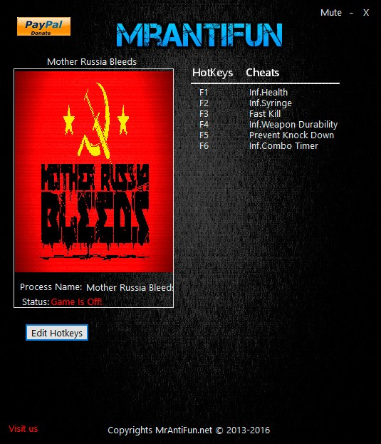 Mother Russia Bleeds — трейнер для версии 1.0.4 (+6) MrAntiFun