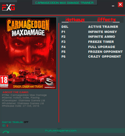 Carmageddon: Max Damage — трейнер для версии 1.0.0.9853 (+6) FutureX