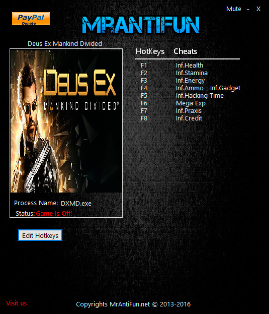Deus Ex: Mankind Divided — трейнер для версии 1.11 (b 616.0) (+9) MrAntiFun