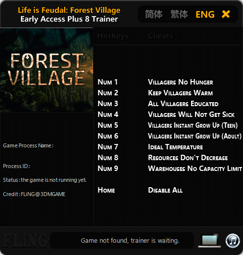 Life is Feudal: Forest Village — трейнер для версии 0.9.5854 (+8) FLiNG [Ранний доступ]
