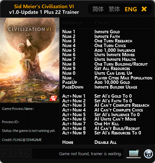 Sid Meier's Civilization 6 — трейнер для версии u1 (+22) FLiNG