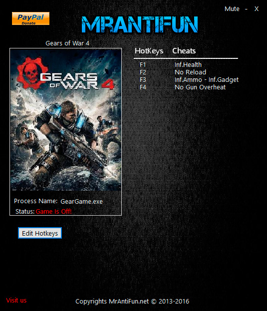Gears of War 4 — трейнер для версии 9.3.2.2 (+5) MrAntiFun