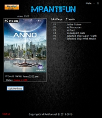Anno 2205 — трейнер для версии 1.08.3726 (Steam) (+5) MrAntiFun [64-bit]