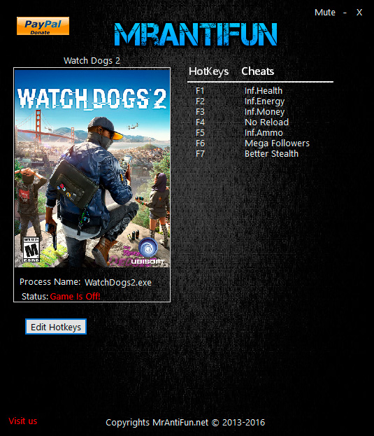 Watch Dogs 2 — трейнер для версии 1.6.135 (+7) MrAntiFun