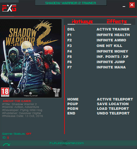 Shadow Warrior 2 — трейнер для версии 1.1.5.0 (+10) FutureX