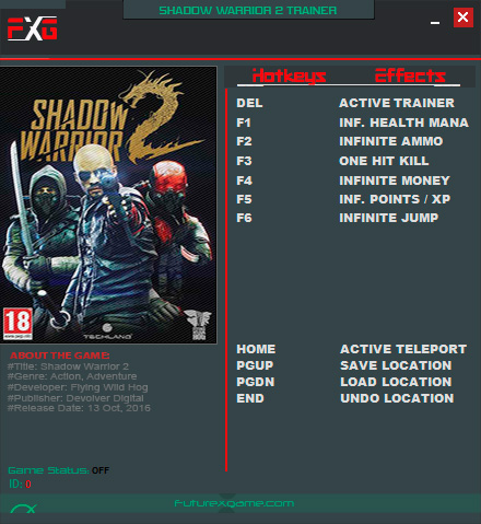 Shadow Warrior 2 — трейнер для версии 1.1.3.0 (+9) FutureX