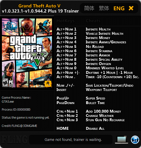 Grand Theft Auto 5 — трейнер для версии 1.0.944.2 (+19) FLiNG