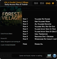 Life is Feudal: Forest Village — трейнер для версии 0.9.6005 (+8) FLiNG [Ранний доступ]