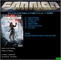 Rise of the Tomb Raider — трейнер для версии 1.0.753.2 (+6) FANAiON