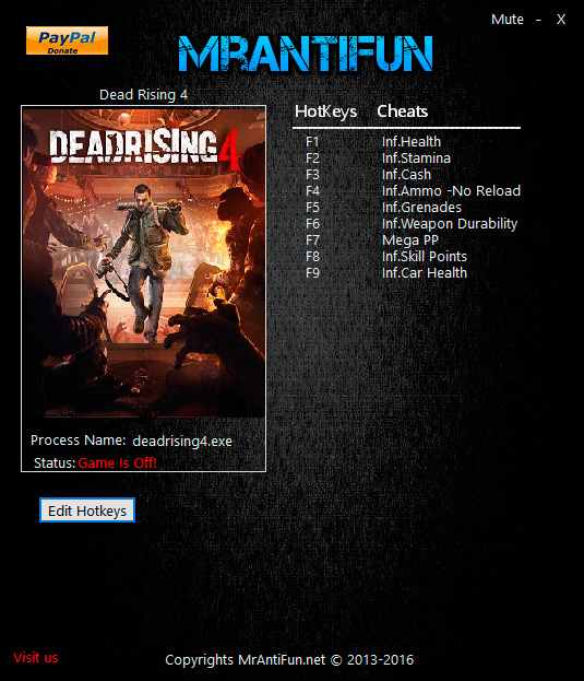 Dead Rising 4 — трейнер для версии 3.0.1.2 (+10) MrAntiFun [Windows Store]