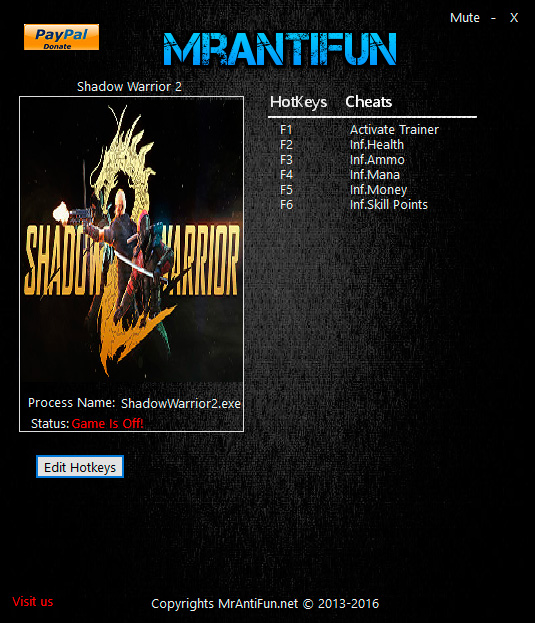 Shadow Warrior 2 — трейнер для версии 1.1.7.0 (+5) MrAntiFun