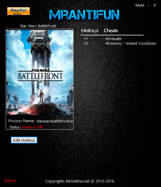 Star Wars: Battlefront — трейнер для версии 1.7.64833 (+3) MrAntiFun
