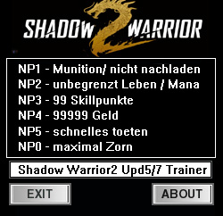 Shadow Warrior 2 — трейнер для версии 1.1.7.0 (+6) dR.oLLe